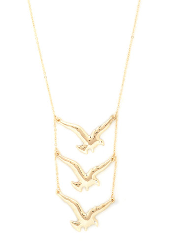 Something to Hawk About Necklace - Gold, Print with Animals, Tiered, Solid, Gold