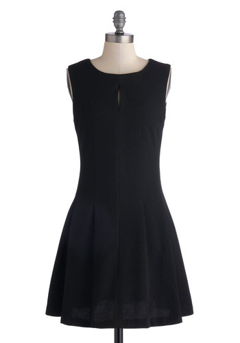 Saturday Sashay Dress - Mid-length, Knit, Black, Solid, Party, A-line, Sleeveless, Better, Scoop, Exposed zipper, Work, Cutout, Minimal, Basic, LBD