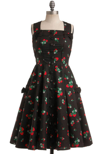 Sweet Temptation Dress in Strawberries - Black, Red, Green, White, Novelty Print, Bows, Buttons, Pockets, Casual, A-line, Tank top (2 thick straps), Racerback, Rockabilly, Button Down, Fit & Flare, Vintage Inspired, 50s, Pinup, Long, Folk Art, Top Rated
