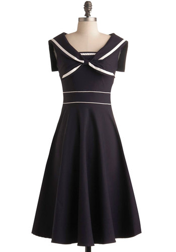Luxury Craft Dress by Stop Staring! - Blue, White, Casual, Nautical, A-line, Sleeveless, Long, Pinup