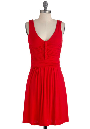Made in the Braid Dress - Mid-length, Red, Solid, Braided, Casual, Shift, Tank top (2 thick straps), Ruching, Jersey, V Neck, Exclusives