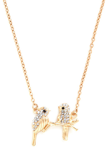 Just Hanging Around Necklace - Gold, Print with Animals, Rhinestones, Fairytale, Gold