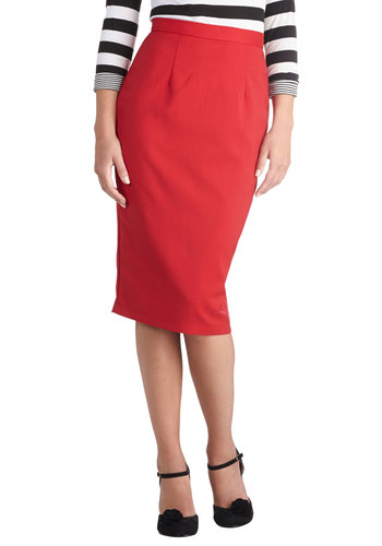 Pen Me In Skirt by Bettie Page - Red, Solid, Work, Long, Vintage Inspired, Pinup, 50s, Winter, Pencil, Red