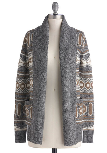 Big Sky's the Limit Cardigan by Jack by BB Dakota - Grey, Brown, Print, Casual, Long Sleeve, Tan / Cream, Mid-length, Knit, Grey, Long Sleeve, Gifts Sale