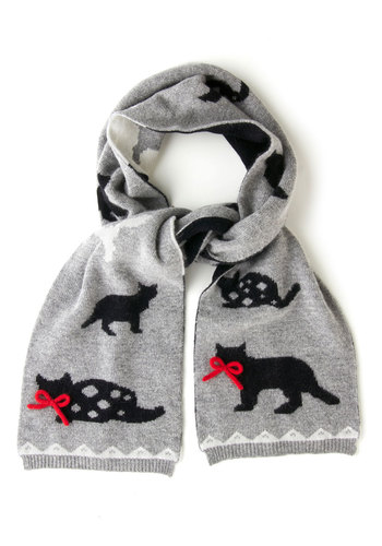 Skip to My Mew Scarf - Grey, Black, White, Print with Animals, Trim, International Designer, Cats, Fall, Winter, Knit, Bows, Holiday