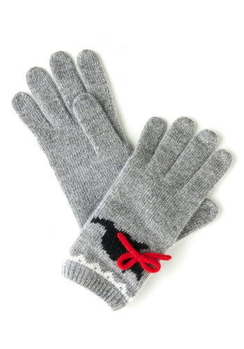 Skip to My Mew Gloves - Grey, Red, Black, Print with Animals, Bows, Trim, Fall, Winter, International Designer, Cats, Knit