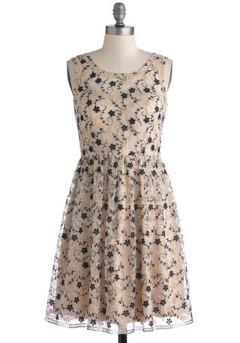 That's Glamour Like It Dress - Tan, Black, Floral, Embroidery, Party, A-line, Sleeveless, Better, Scoop, Mid-length, Sheer, Woven, Eyelet