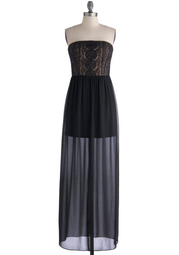 Allure in Noir Dress - Black, Tan / Cream, Embroidery, Party, Maxi, Strapless, Better, Long, Woven, Sheer