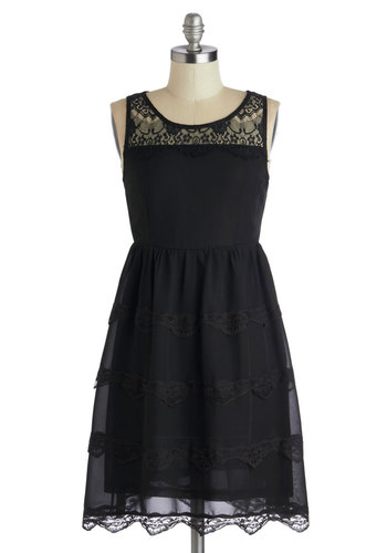 Masquerade Meeting Dress - Mid-length, Black, Solid, Lace, Party, A-line, Sleeveless, Good, Scoop, Scallops, Cocktail, Sheer, Halloween