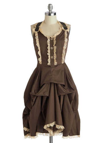 Off to Oamaru Dress - Brown, Tan / Cream, Party, Steampunk, Tank top (2 thick straps), Better, Cotton, Woven, Mid-length, Buttons, Lace, Solid, Vintage Inspired, French / Victorian, Scoop