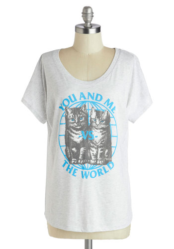Rachel's It Takes Mew Tee - Print with Animals, Short Sleeves, Better, Mid-length, Jersey, Knit, Grey, Blue, Novelty Print, Casual, Quirky, Scoop, Grey, Short Sleeve