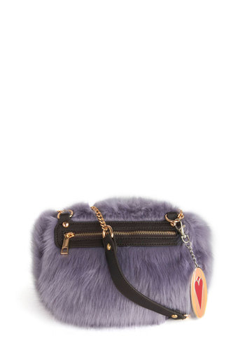 Softie at Heart Bag by Kling - Purple, Black, Solid, Special Occasion, Luxe, Faux Fur, Better, International Designer
