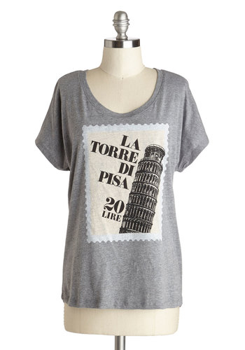 Postcard from Pisa Top - Grey, Novelty Print, Travel, Short Sleeves, Better, Mid-length, Jersey, Knit, Casual, Variation, Scoop, Grey, Short Sleeve, Top Rated