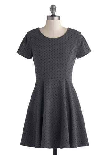Brauhaus Party Dress - Grey, Black, Polka Dots, Casual, Minimal, A-line, Good, Long, Knit, Short Sleeves, Scoop, Work