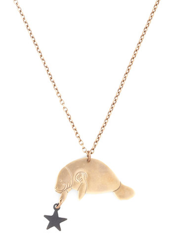 Man Oh Manatee Necklace - Gold, Print with Animals, Better, Casual, Gold, Nautical