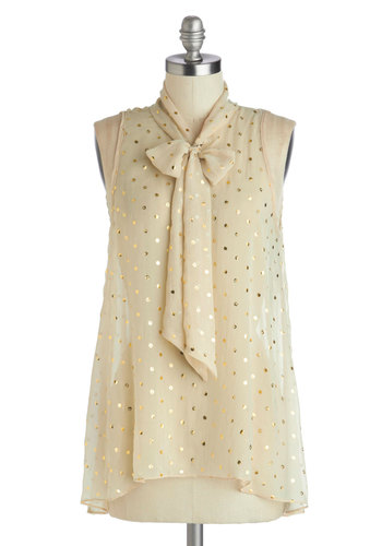 Cute Do You Do Top in Apples - Mid-length, Chiffon, Sheer, Woven, Cream, Tie Neck, Sleeveless, Gold, Novelty Print, Work, Daytime Party, Fruits, Variation, Press Placement, White, Sleeveless