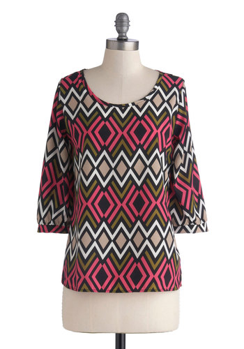 Modern Deco Top - Chiffon, Sheer, Woven, Multi, Pink, Tan / Cream, Print, Work, 3/4 Sleeve, Mid-length, Green, Black, White, Scoop, Pink, 3/4 Sleeve