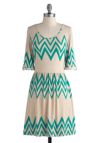 One-Hit Wonderful Dress - Knit, Mid-length, Tan, Green, Chevron, Casual, A-line, Good, Scoop, 3/4 Sleeve