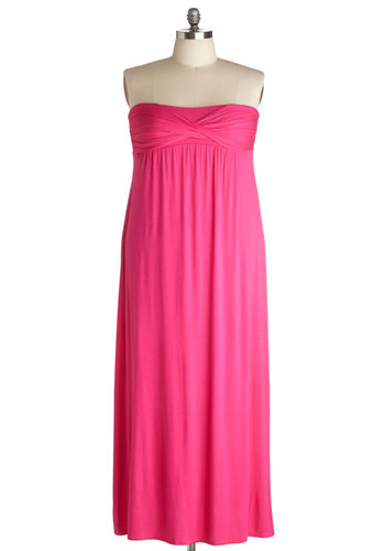 Make It Pop Dress in Plus Size - Jersey, Pink, Solid, Ruching, Casual, Maxi, Strapless, Summer, Better, Beach/Resort, Knit, Exclusives