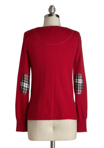 Patch of Panache Cardigan - Red, Black, White, Solid, Plaid, Buttons, Patch, Long Sleeve, Short, Knit, Work, Casual, Scholastic/Collegiate, V Neck, Holiday, Red, Long Sleeve