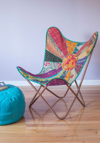 Relaxed and Ravishing Butterfly Chair in Patchwork by Karma Living - Multi, Print, Quilted, Boho, Dorm Decor, Best, Vintage Inspired, 60s, 70s, Cotton, Festival