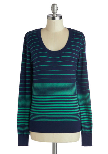 Snug by the Seashore Sweater - Blue, Green, Stripes, Long Sleeve, Mid-length, Knit, Casual, Scoop, Fall, Blue, Long Sleeve
