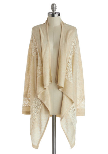Hilltop Retreat Cardigan - Sheer, Knit, Cream, Solid, Crochet, Long Sleeve, Casual, White, Long Sleeve, Top Rated
