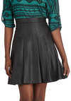Girl's Fest Friend Skirt - Black, Solid, Better, Faux Leather, Short, Pleats, Party, Girls Night Out, Urban, A-line, Black