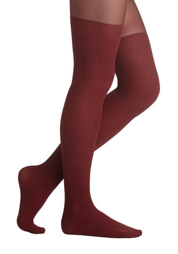 Poses are Red Tights - Red, Solid, International Designer, Knit, Knitted, Scholastic/Collegiate, Sheer