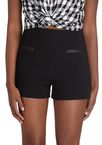 Classy Cocktail Hour Shorts - Black, Solid, Pockets, Girls Night Out, Short, Knitted, Party, Urban
