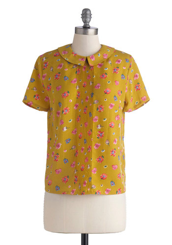 Tea Timing is Everything Top - Mid-length, Yellow, Pink, Multi, Floral, Peter Pan Collar, Pleats, Work, Casual, Vintage Inspired, Short Sleeves, Buttons, Yellow, Short Sleeve