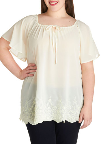 Sheer in Your Arms Top in Plus Size - Sheer, Woven, Chiffon, Cream, Solid, Embroidery, Scallops, Tie Neck, Daytime Party, Short Sleeves, Scoop, Exclusives