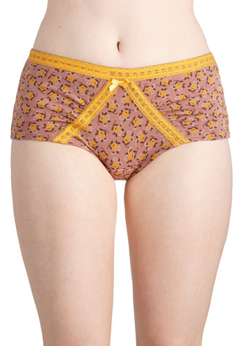 Measure Fleur Measure Undies by Blutsgeschwister - Yellow, Multi, Floral, Bows, Trim, International Designer, Quirky, Knit, Folk Art