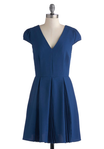 Featured Speaker Dress by Myrtlewood - Blue, Solid, Pleats, Party, A-line, Cap Sleeves, V Neck, Exclusives, Work, Private Label
