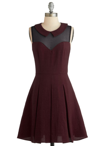 Served on Skates Dress in Burgundy - Red, Solid, Peter Pan Collar, Pleats, Party, A-line, Good, Collared, Sheer, Woven, Sleeveless, Variation, Cocktail, Exclusives, Mid-length