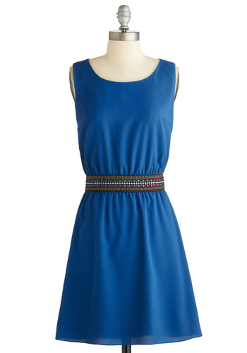 Travel Memoirs Dress - Mid-length, Blue, Multi, Buttons, Cutout, Casual, A-line, Sleeveless, Scoop, Better, Exclusives
