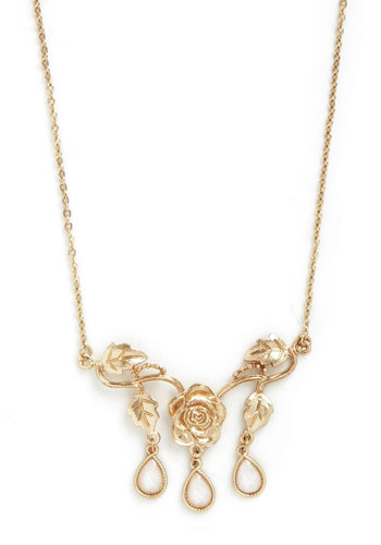 Roses are Ravishing Necklace - Solid, Flower, Tiered, Gold, Tan / Cream, Vintage Inspired, Fairytale