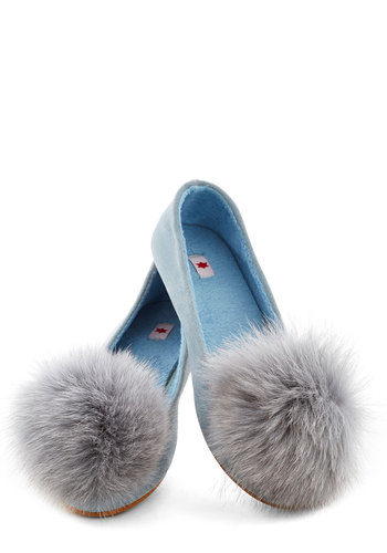 Memorable Impression Flat by Kling - Blue, Poms, Flat, Better, Vintage Inspired, 90s, Leather, Suede, Faux Fur, Pastel, Boudoir
