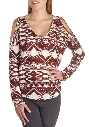Rust Your Instincts Top - Mid-length, White, Print, Cutout, Casual, Long Sleeve, Red, Jersey, Knit, V Neck, Gifts Sale, Brown, Long Sleeve