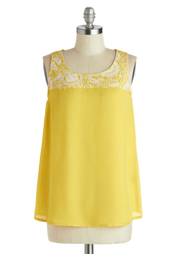 Lemonade Lounging Top - Mid-length, Chiffon, Sheer, Woven, Yellow, White, Solid, Embroidery, Casual, Tank top (2 thick straps), Summer, Scoop, Yellow, Sleeveless