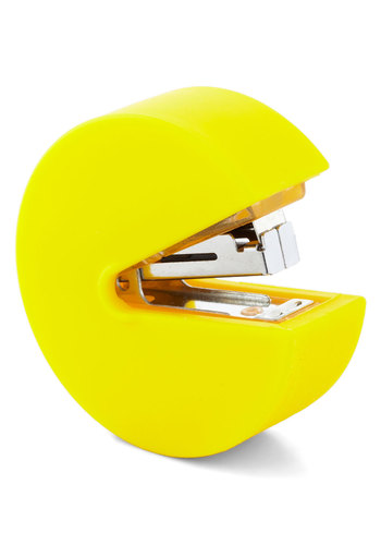 Leader of the Pac Stapler - Yellow, Solid, Vintage Inspired, 80s, Neon, Quirky, Good, Press Placement