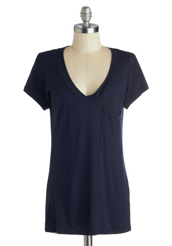 Simply Styled Top in Navy - Blue, Solid, Pockets, Casual, Short Sleeves, V Neck, Mid-length, Jersey, Knit, Basic, Blue, Short Sleeve