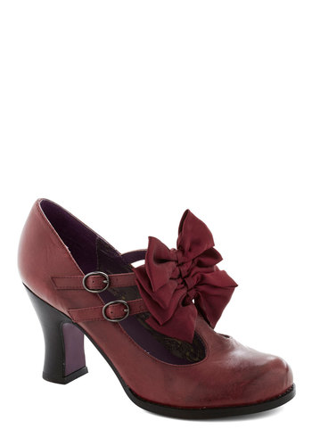 Gift Wrapped Perfection Heel in Wine - Red, Solid, Bows, Mid, Party, Holiday Party, Leather, Variation, Better, T-Strap