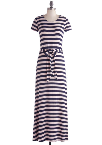 Waterfront and Center Dress - Long, Jersey, Knit, Blue, Pink, Stripes, Belted, Casual, Nautical, Maxi, Short Sleeves, Scoop, Sundress