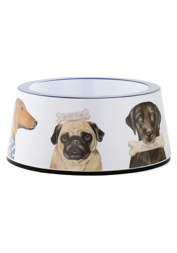 Dig In! Dog Bowl by One Hundred 80 Degrees - Multi, Brown, Tan / Cream, White, Print with Animals, Good