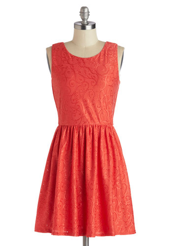Downtown on the Double Dress - Coral, Solid, Bows, Daytime Party, A-line, Good, Scoop, Short, Knit, Cutout, Eyelet, Party, Sleeveless, Valentine's