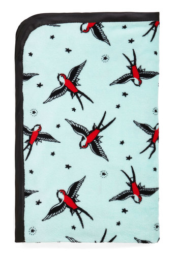 Soaring through Dreamland Throw Blanket - Blue, Red, Black, Print with Animals, Novelty Print, Good