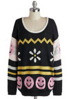 No Worries Sweater by Mink Pink - Black, Yellow, Pink, White, Novelty Print, Long Sleeve, Long, Knit, 90s