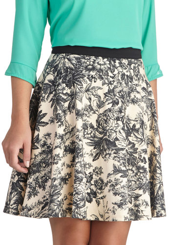 Beauty of Botany Skirt - Cream, Floral, Work, A-line, Short, Woven, Daytime Party, White, Top Rated