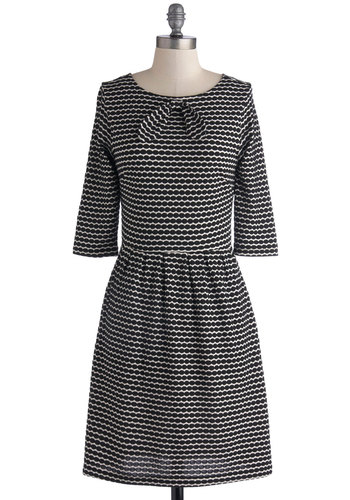 Cause and Effect Dress by Dear Creatures - Black, White, Print, Bows, Work, A-line, Crew, Better, 3/4 Sleeve, Knit, Mid-length, Top Rated